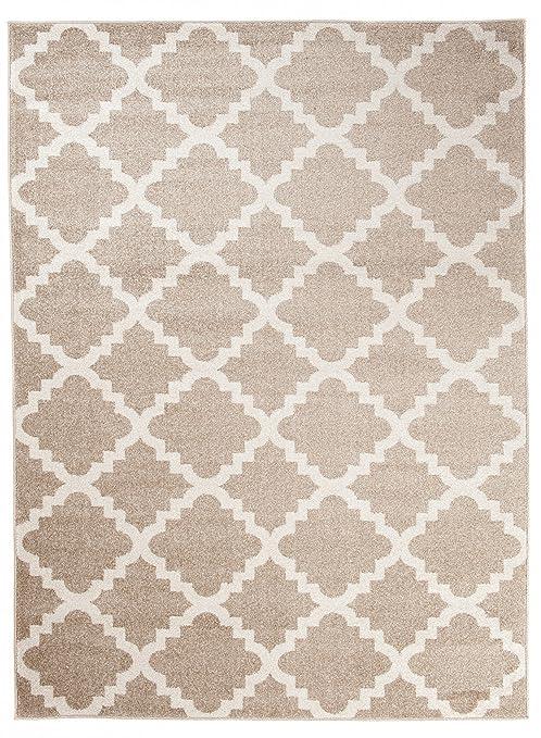 Grand - XXL - Tapis de Salon Chambre - Beige Blanc - Motif Oriental avec un  Design Contemporain - Moderne - Géométrique - Treillis Marocain ...