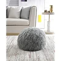 Comfortland Unstuffed Ottoman Pouf Covers, Small Faux Fur Foot Stool, 20x12 Inches Round Poof Seat, Floor Bean Bag Chair…