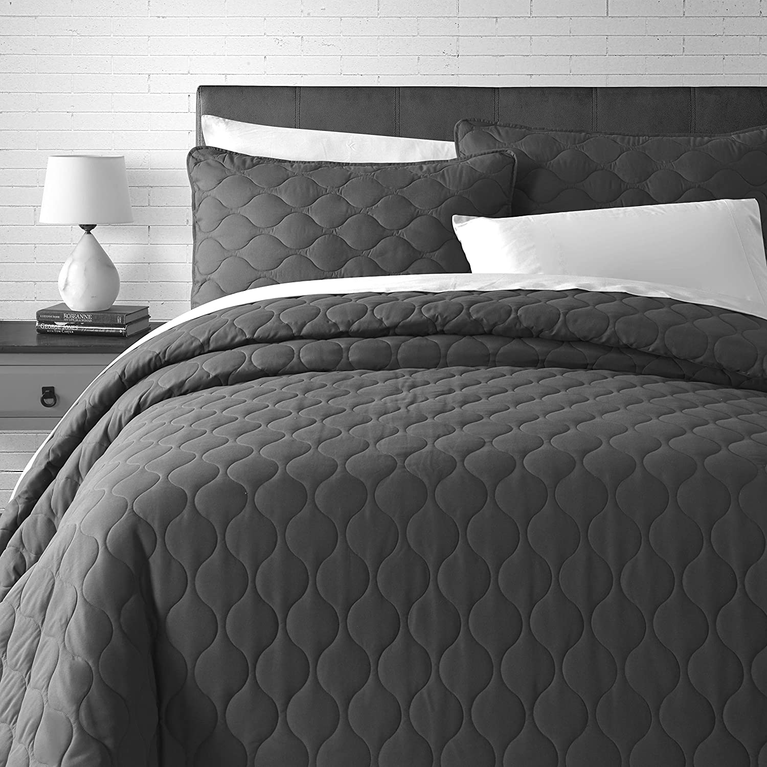 Grey, King//Cal King Comfy Bedding Modern Pearl Necklace Pattern Quilted 3-Piece Bedspread Coverlet Set