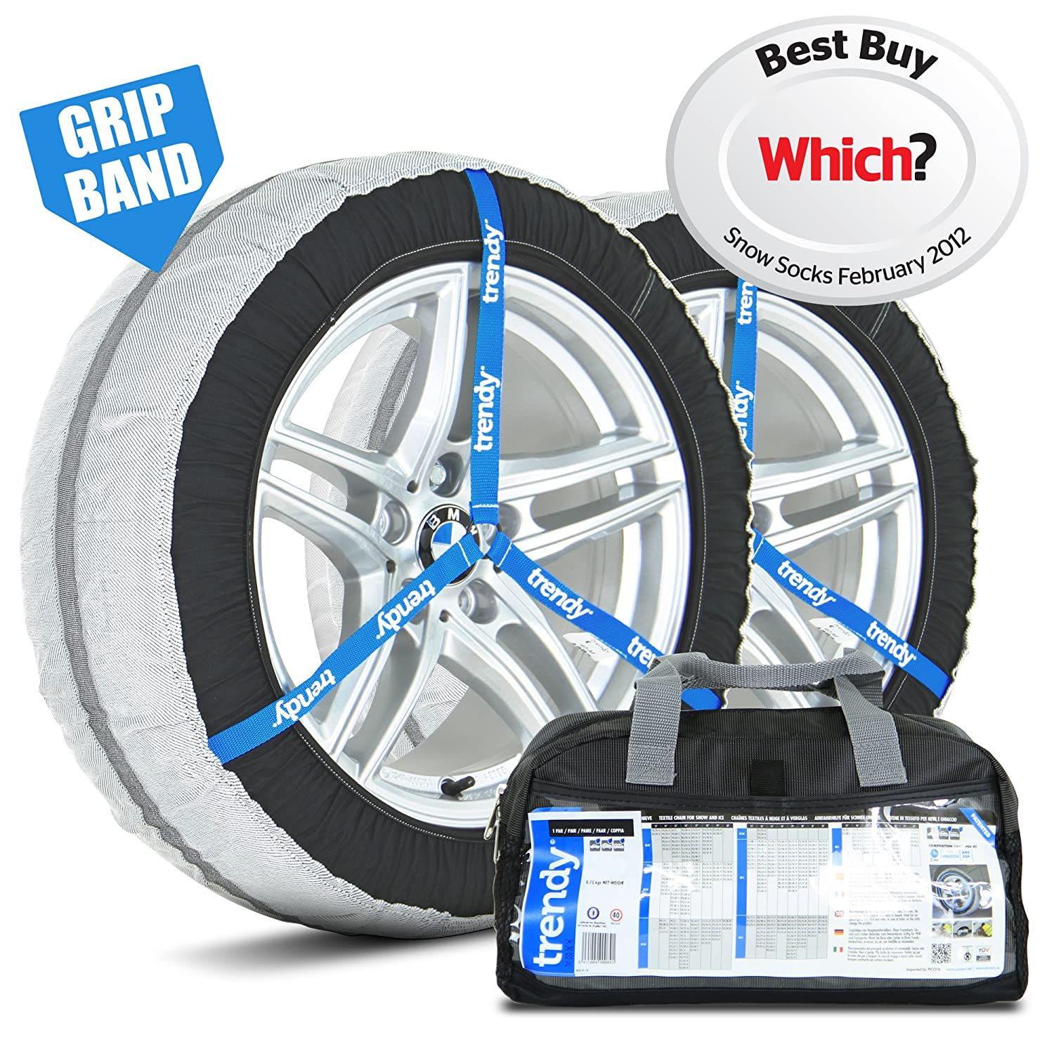 Trendy Car Snow Socks - 44L - Awarded 'Best Buy' - Universal Fit For 255/35 R20, 245/35 R21, 265/30 R22 Tyre and More Picoya 44-L