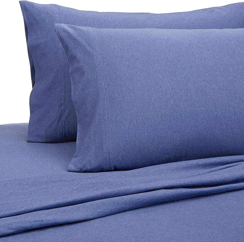 PURE LINEN Jersey Sheets Queen [4-Piece, Dark Blue] Cotton Bed Sheets - Extra Soft Cotton Sheet Set, Cozy T-Shirt All Season Heather Sheets - Deep Pocket Fitted Sheet, Flat Sheet, Pillow Cases