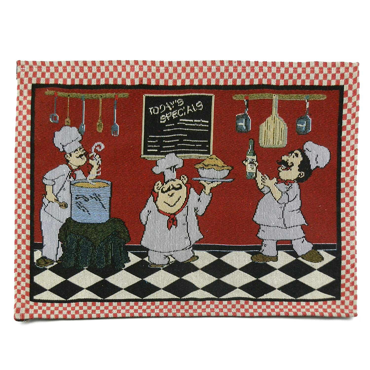 Fat Chef Drinking Wine Style Placemat Tapestry Cloth Style D 1 piece