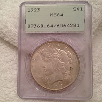 $1 UNCIRCULATED CERTIFIED SLAB 1922 PEACE DOLLAR NICE COIN NGC MS-64