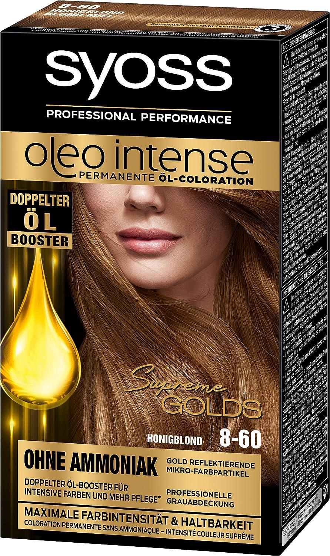 Syoss Oleo Intense Coloración permanente al aceite, rubio miel 8-60, nivel 3, pack de 3 (3 x 115 ml)
