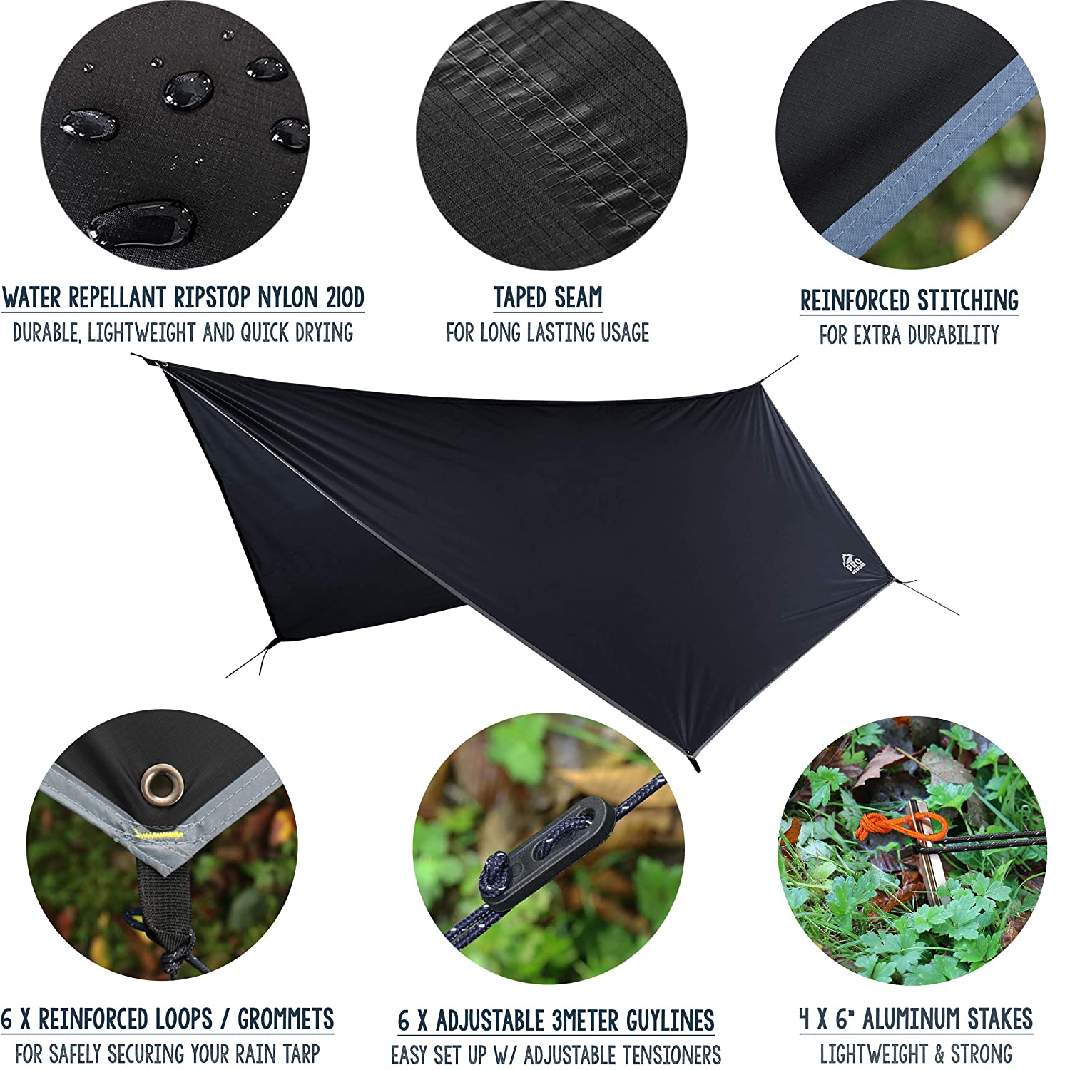 Pro Venture 12 FT Hex Waterproof Hammock RAIN Fly - Portable Large Rain Tarp - Premium Lightweight Ripstop Nylon - Fast Set Up - Hammock Camping Essential! 12FT x 9FT HEX Shape
