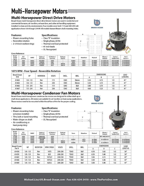 A1469r, 1/6-1/3HP Condenser Fan Motor 825RPM, 2-Sd ... on