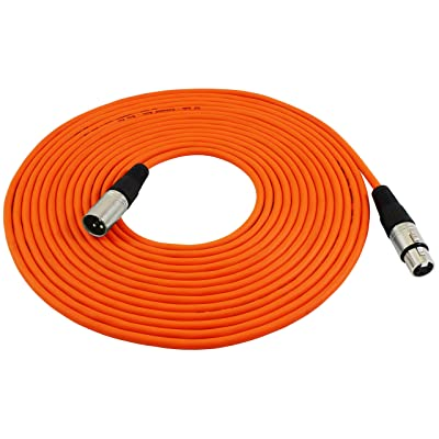 GLS Audio 25ft Mic Cable Patch Cords - XLR Male to XLR Female Orange Microphone Cables - 25' Balanced Mike Snake Cord - ORANGE: Musical Instruments