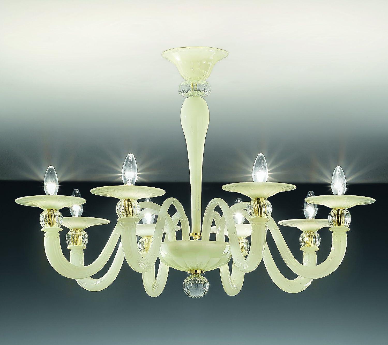 Lámpara de techo Topdomus cristal de Murano 1154/8PL marfil ...