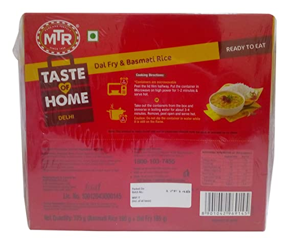 MTR Ready to Eat Dal Fry and Basmati Rice, 375g Combo Pack