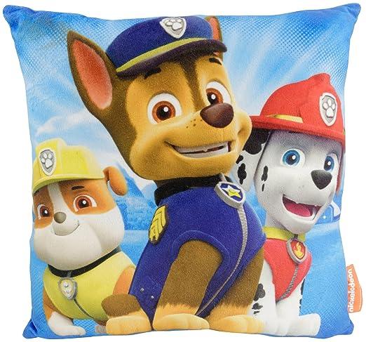 Paw Patrol 0121987 - Cojín Suave de Chase, Marshall y Rubble de La Patrulla Canina, de Tela Aterciopelada, poliéster, Color Azul, 30 x 30 x 5 cm