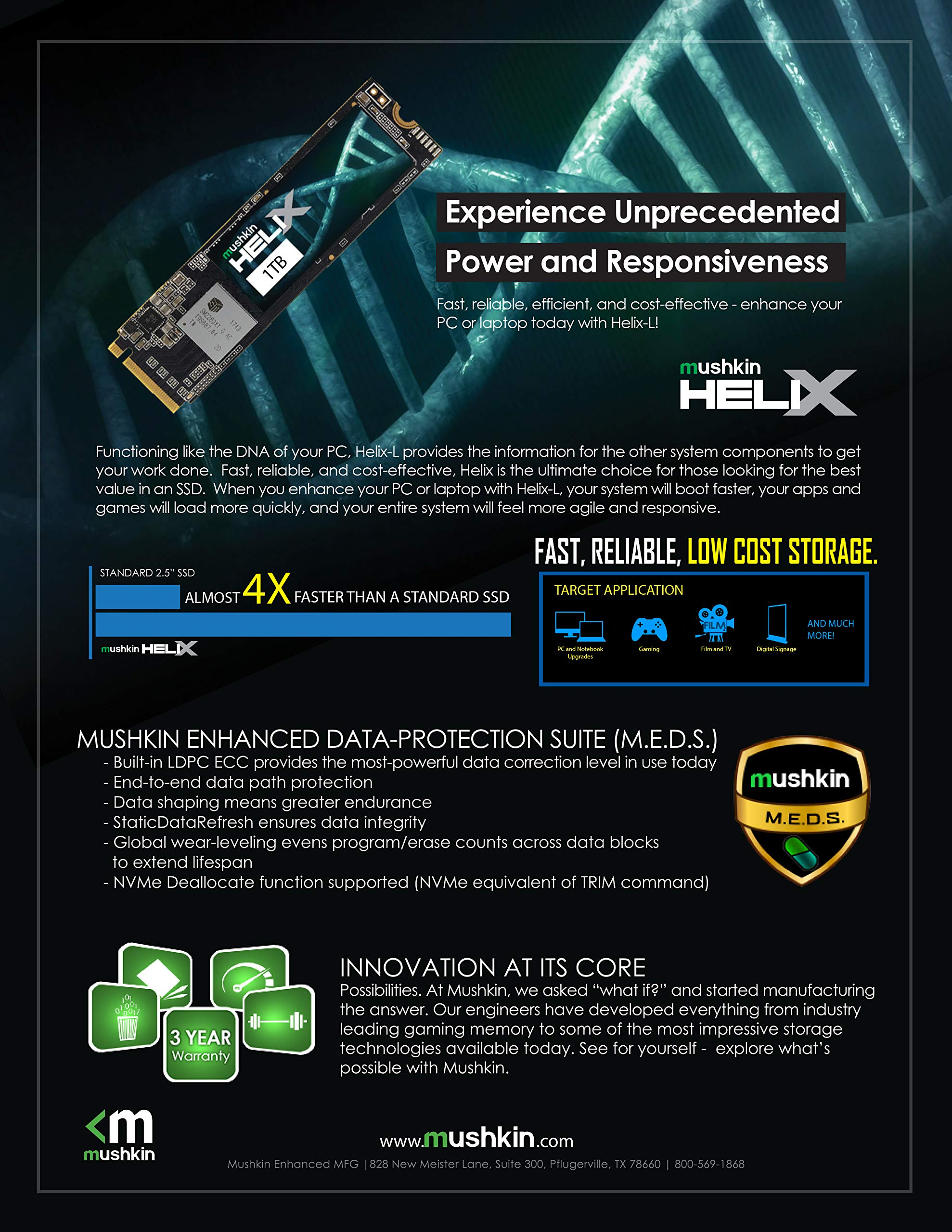 Mushkin Helix-L - 500GB PCIe NVMe 1.3 - M.2 (2280) Internal Solid State Drive (SSD) - Gen3 x4 - 3D TLC - (MKNSSDHL500GB-D8)