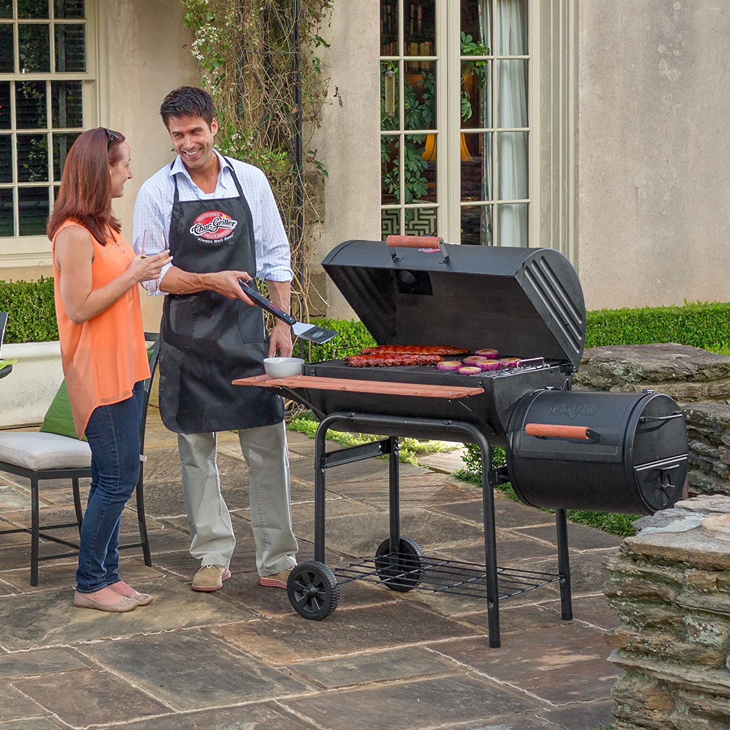 Parents Cooking Food Using Char-Griller E1224 Smokin Pro 830