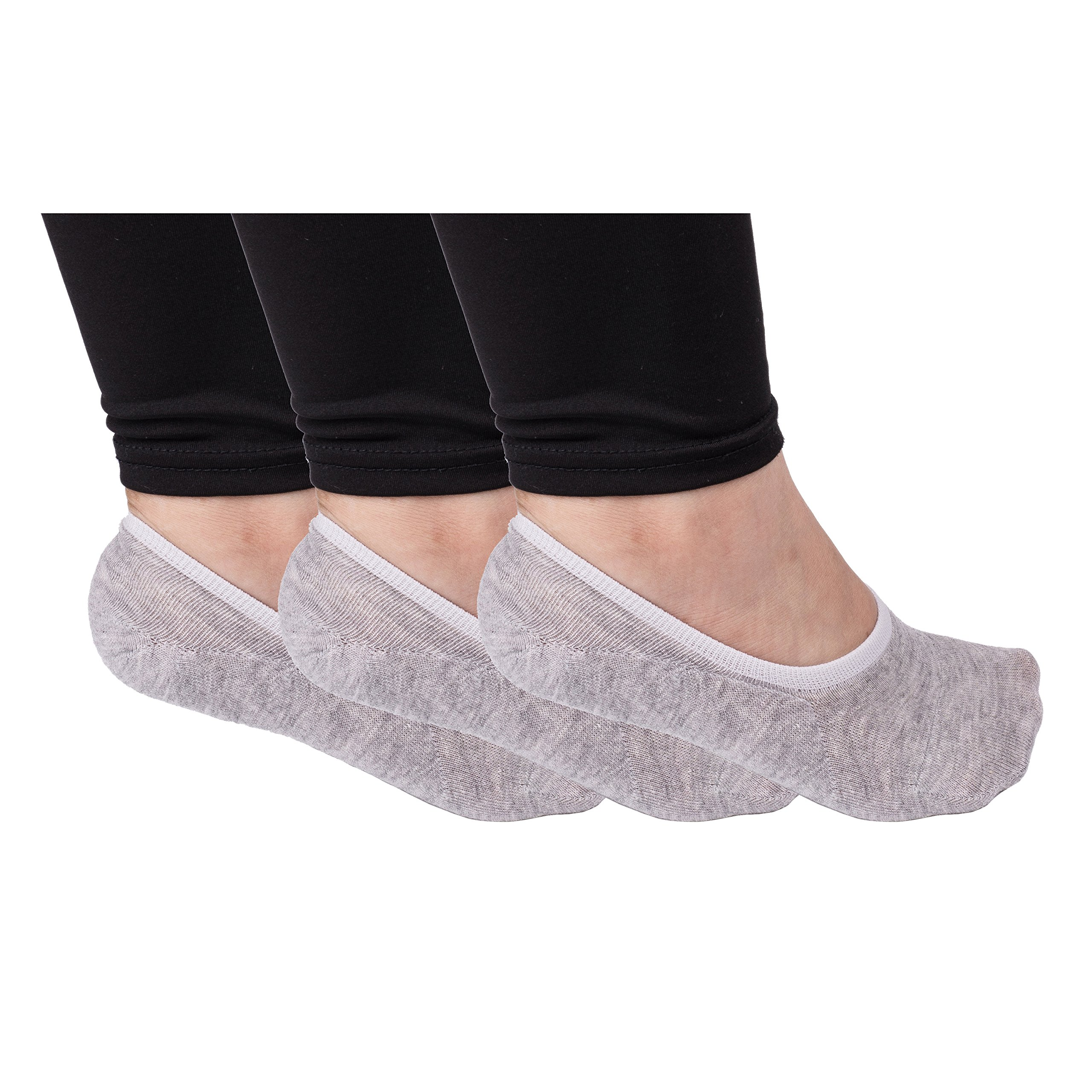 LALUNA BRIDE Women's Casual Non-Slip No-Show Low cut Liner Socks Pack of 3 Pairs Grey