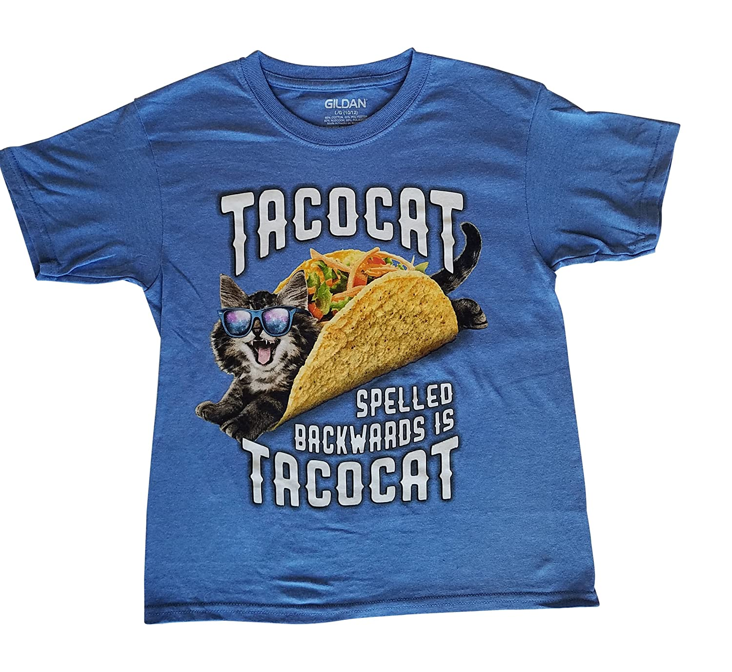 7f380eb5c Boys Shirt - Tacocat Spelled Backwards is Tacocat Funny graphics with a  cool Cat Wearing Sunglasses laying in a taco. Throw on some fresh lettuce  and ...