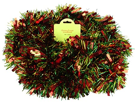 redgreengold chunkyfine christmas tinsel 4 metre christmas decoration