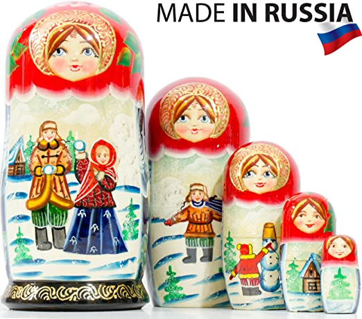 Nesting Dolls Matryoshka Made in Russia Hand Painted Russian Doll 5 pcs 6.75/""