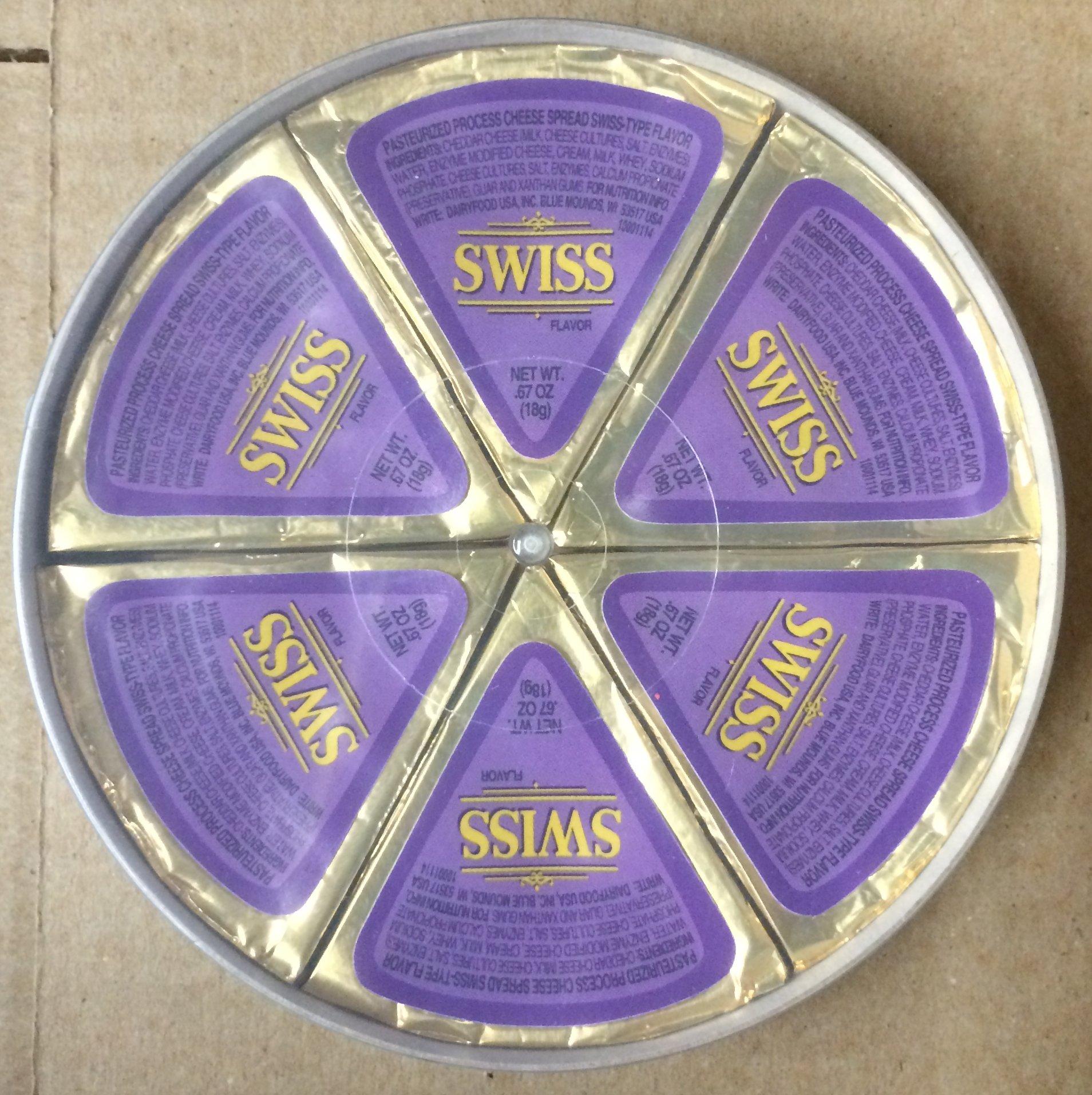 One - 4.02oz Dairy Food USA Swiss Wheel Cheese Wedges