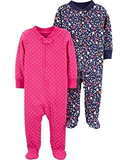 Carters Baby Girls Footed Sleeper Cotton Sleep and Play Flamingo and White Floral Set of 2