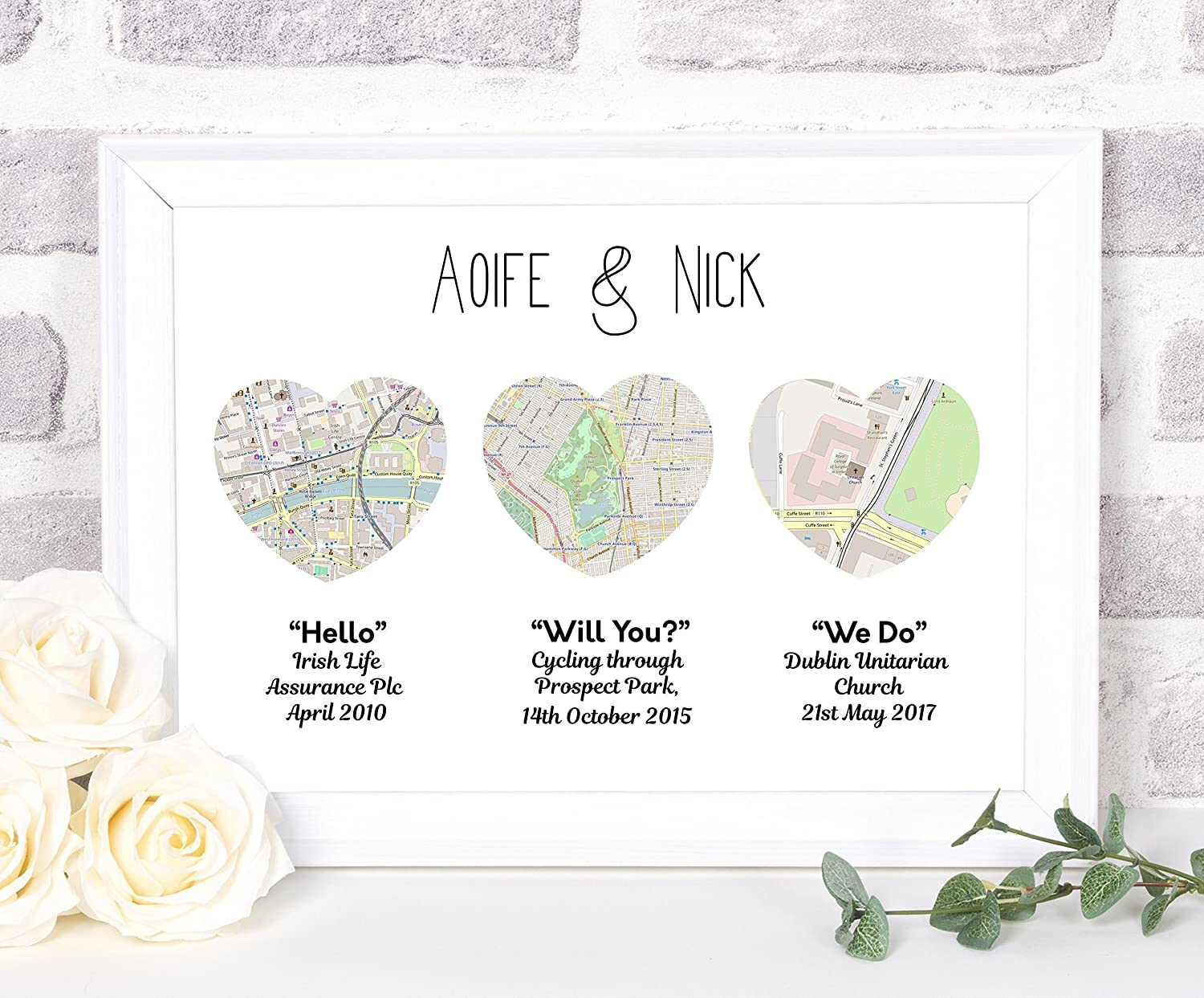 Unframed Engagement heart print Map Gifts Personalised Worldwide maps available
