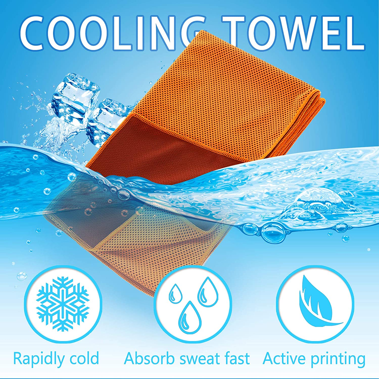 Sports Kids Cooling Towel,40x12 Inch Instant Cool Sports Towel for Neck Men Arms Athletes Women