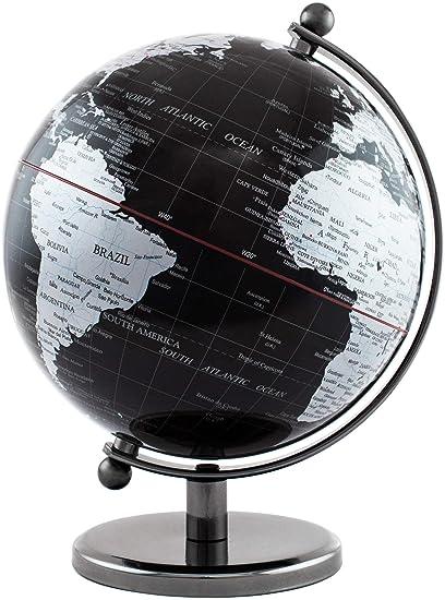 27cm Leonardo World Globe Material Metal Modern Design Colour Black /& Silver