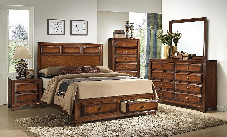 Antique oak bedroom furniture - Amazon Com Roundhill Furniture Oakland 139 Antique Oak Finish Wood Queen Size Storage Platform Bed Kitchen Dining