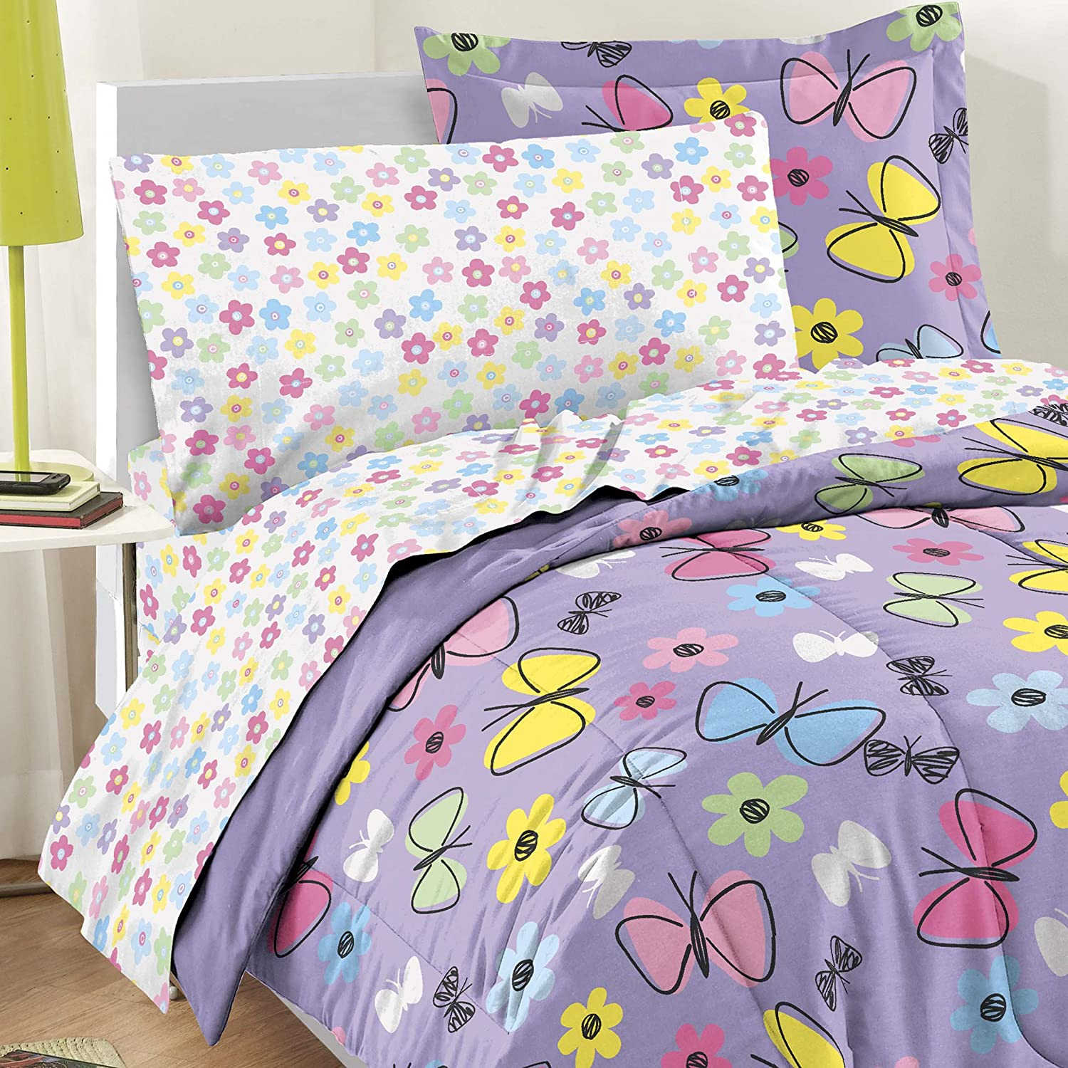 pinterest my set cotton bedding purple for bed reversible abstract butterfly pin comforter twin new girls
