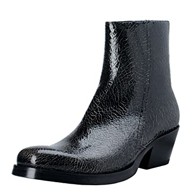 6807205b8c Amazon.com: Versace Men's Black Cracked Leather Cowbow Ankle Boots ...