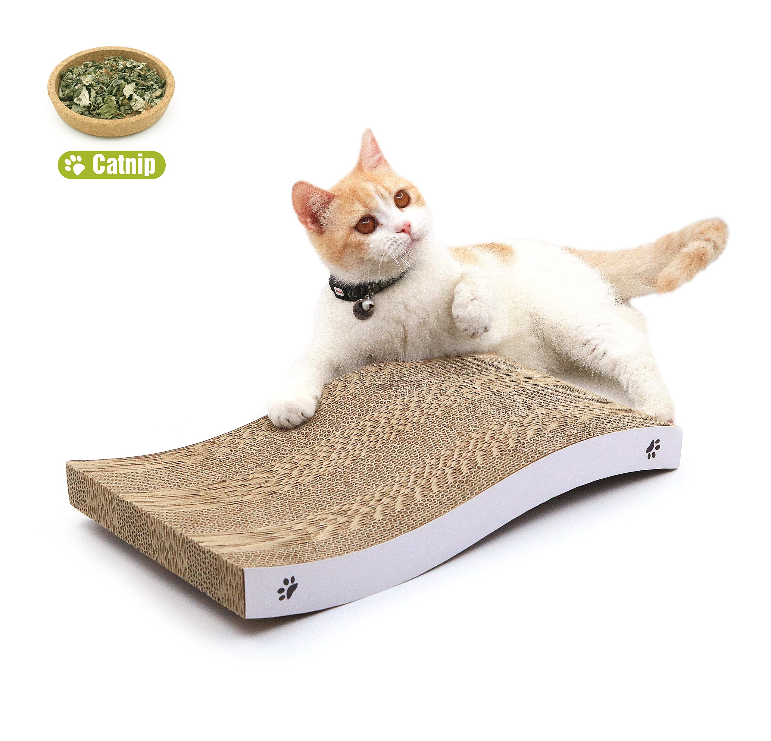 COCHING Cat Scratcher Cardboard Curved Shape Scratch Pad with Unique Two Different Scratch Textures Design Durable Scratching Pad Reversible With Organic Catnip