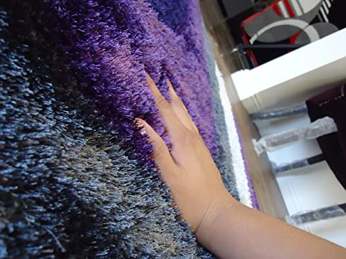 5 Ft. X 7 Ft. Authentic Shaggy Area Rug, Gray with Purple, Hand-Tufted