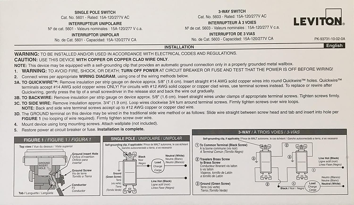 Installation Manual Card Leviton Switch 5603 3 Way Wiring Diagram Only Not Product Everything Else