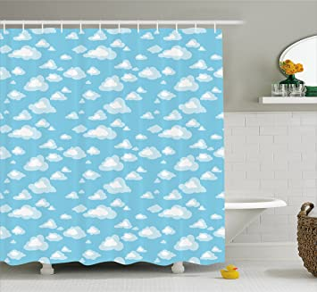 Blue And White Shower Curtain By Ambesonne Cartoon Sky With Fluffy Clouds Clear Day Baby
