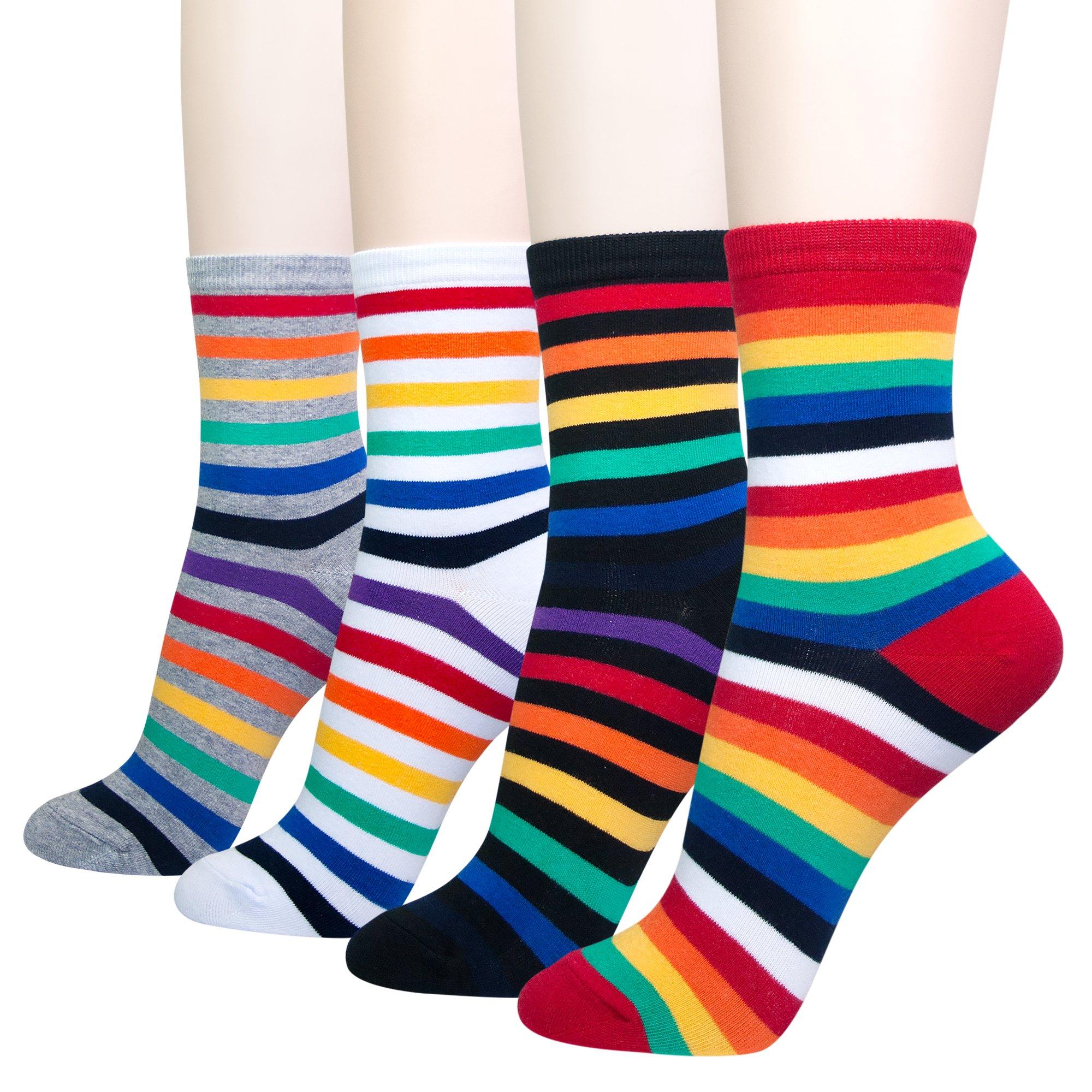 KONY Women's 4 Pack Cotton Rainbow Stripe Novelty Crew Socks - Women's Shoe Size 6-9 (Classic Rainbow - 4 Pairs)