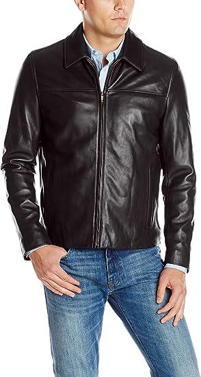 plain java color full-zipper leather jacket