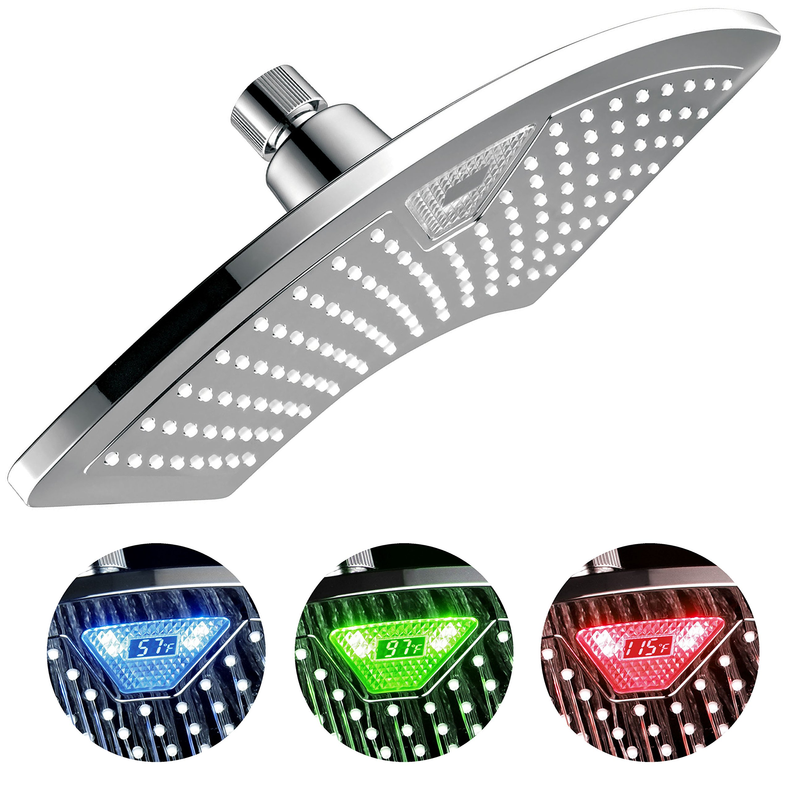 DreamSpa 1489 Aquafan 12 Inch Rainfall Shower-Head with Color-Changing LED/LCD Temperature Display, 12'', Chrome