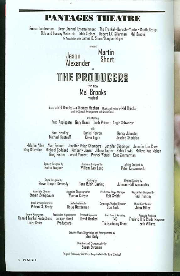 The Producers, Broadway Playbill + Martin Short, Jason