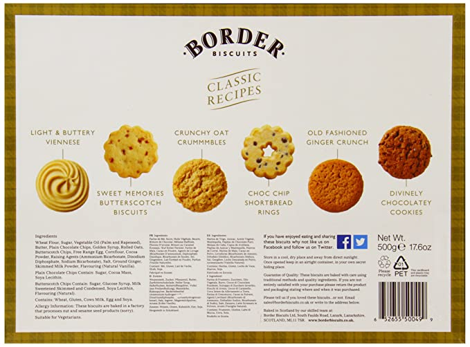Border Biscuits Classic Recipe Selection, Surtido de galleta fresca - 500 gr.: Amazon.es: Alimentación y bebidas