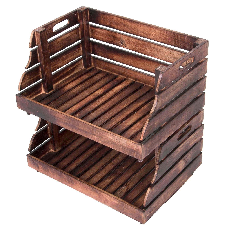 Divero 2er Set Vintage Holzkiste Stapel-Kiste Spielzeug-Box Stiege braun geflammt Aufbewahrung 49x35x25, 5cm Obst- und Gemü sekisten-Look