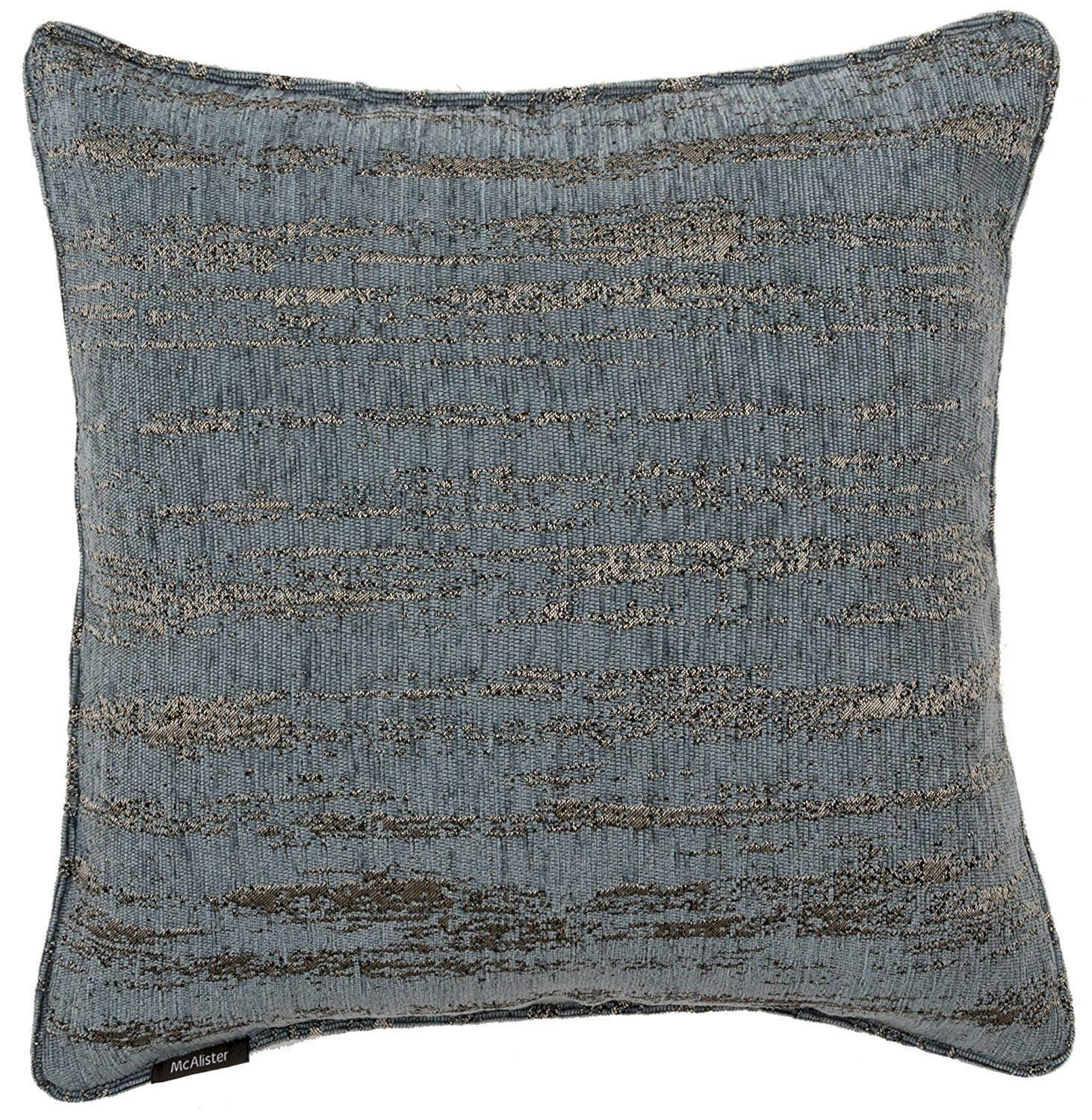 McAlister Textiles Textured Chenille Pillow Case | Denim Blue Funky Patterned Design Decorative Throw Scatter Sofa Cushion Sham | Size - 24 x 24 Inches