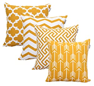 ACCENTHOME Square Printed Cotton Cushion Cover,Throw Pillow Case, Slipover Pillowslip for Home Sofa Couch Chair Back Seat,4pc Pack 18x18 in Mustard Color