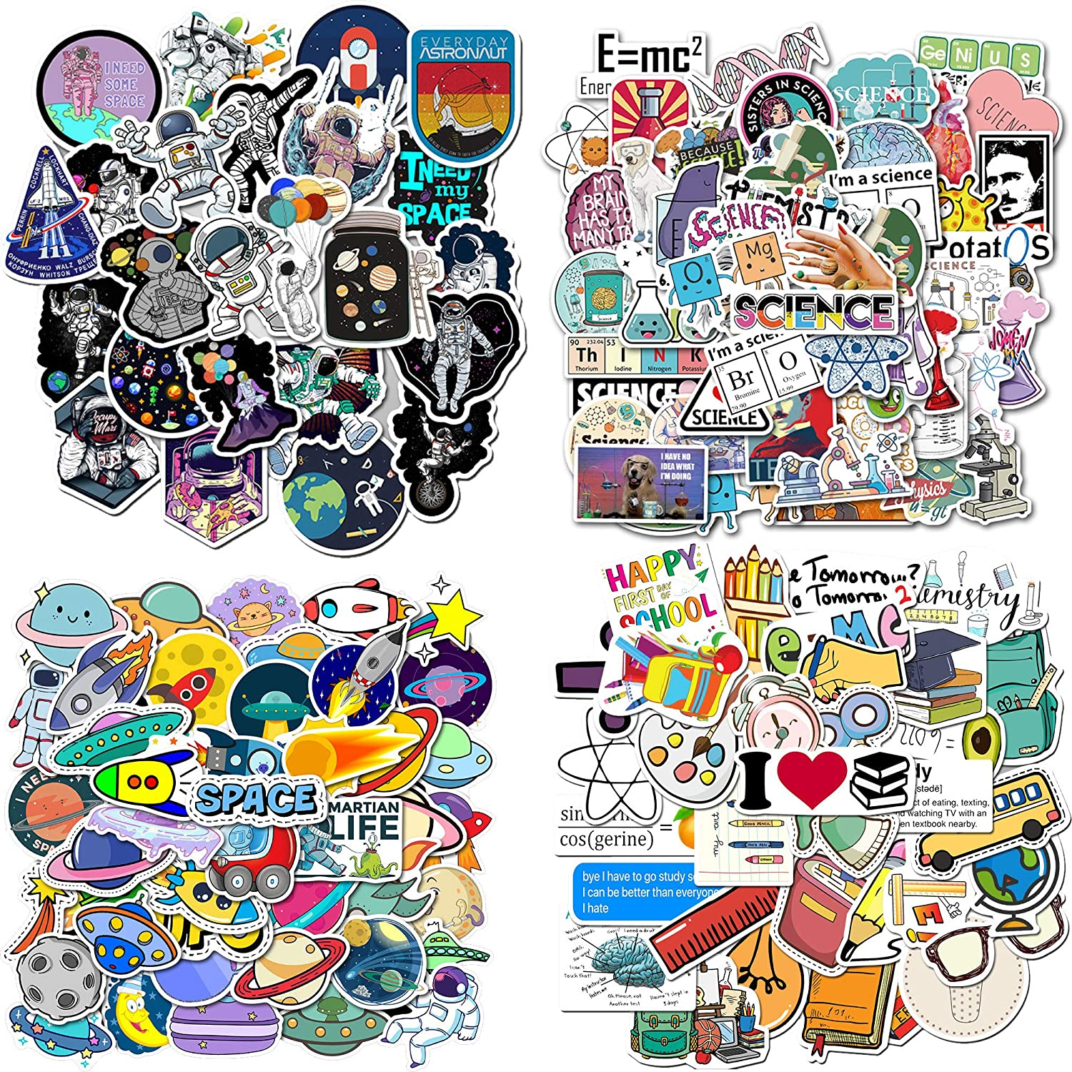 FUNCSDIK 200PCS Graffiti Stickers Waterproof PVC Science School Astronaut Space Stickers for Children, Students, Teens, Laptop, Water Bottle, Phone, Luggage, Skateboard (School Science)