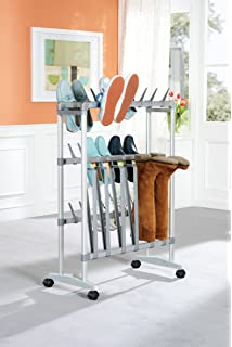 Schuhregal rollbar für 24 Paar Schuhe Stiefelständer Schuhablage Stiefelhalter viEcKt4o