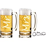 Ruby Umbrella Mr. and Mrs. 27 ounce Beer Mug Gift Set, Great for Weddings, Engagements, Couple Gifts, Anniversaries, Christmas and More!