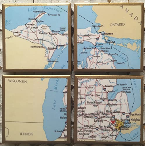 Gold In Michigan Map.Amazon Com Coasters Personalized Michigan Map Coasters With Heart