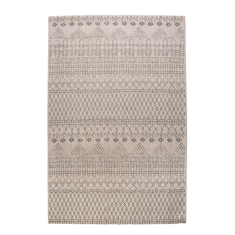 Riess Ambiente Design Wollteppich Berber beige schwarz 160x240cm Teppich Rauten aus Wolle Läufer Wohnzimmerteppich