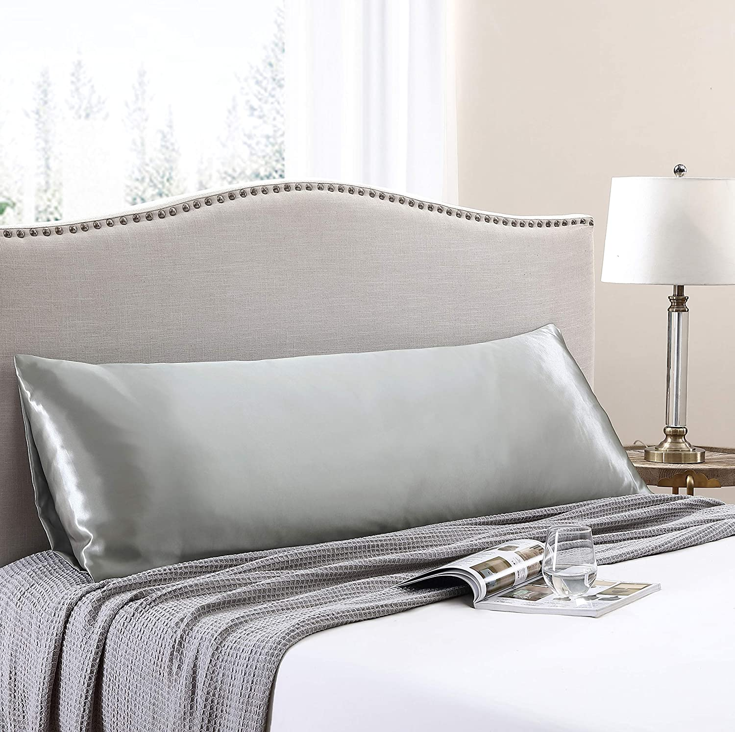 Love's cabin Body Pillow Cover, 20x54 inches Light Grey Soft Satin Body Pillow case with Envelope Closure, Silky Slip Cooling Body Pillow Pillowcases for Hair and Skin