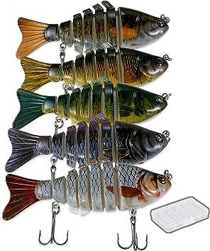 5PCS//Box 10cm//24g Multi Jointed Fishing Lure Swimbait 7-Segment Bait Wobbler