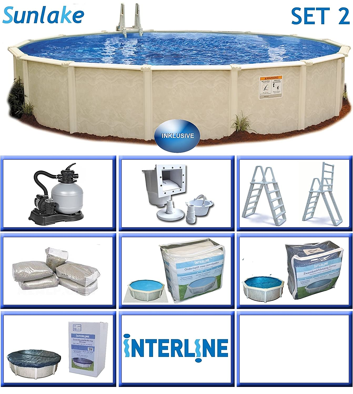 Interline 55000110 redondo Piscina Pool Set 2 sunlake 3, 60 m de diámetro, profundidad 1, 32 m, set completo 4 m³/h, contenido, 12 m³ de agua: Amazon.es: ...