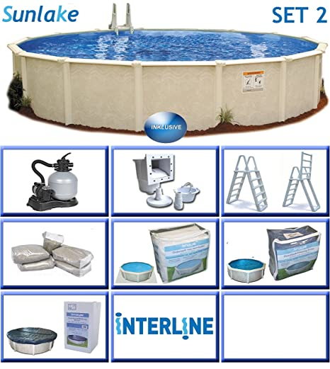 Interline 55000110 redondo Piscina Pool Set 2 sunlake 3,60 m de diámetro, profundidad