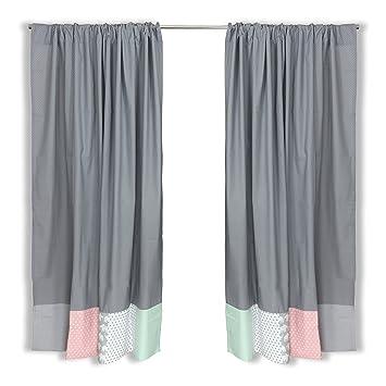 Rideaux pour chambre d\'enfant en patchwork ULLENBOOM ® 140 x 170 cm  éléphant menthe rose (rideaux pour chambre de bébé, coton, 2 rideaux, motif  : ...